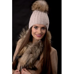 Jamiks: LINA I Cepure ar dabīgo jenota ādas bumbuli