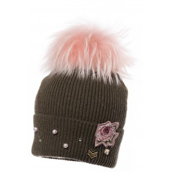 Jamiks: WALKIRIE I hat with natural racoon fur pompom
