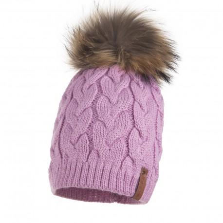 Lenne: Silta ziemas cepure ar dabīgo ādas bumbuli