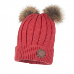 Lenne: Warm winter hat with real fur pom poms