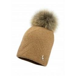 Jamiks: Merino-vilnas Cepure TEMPEST I (ar dabīgo jenota ādas bumbuli)